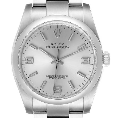 Photo of Rolex Oyster Perpetual 36 Silver Dial Steel Mens Watch 116000 Box Card