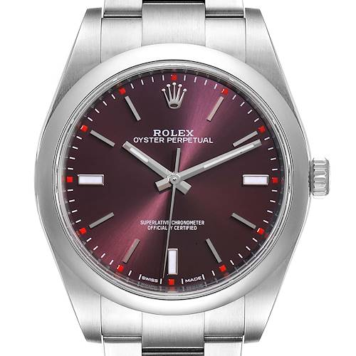 Photo of Rolex Oyster Perpetual Red Grape Dial Steel Mens Watch 114300 Box Card