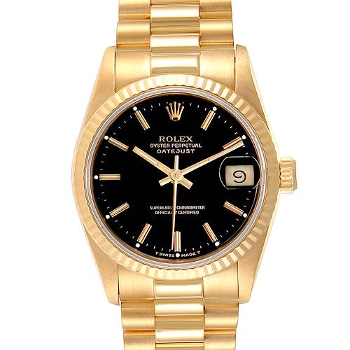 Photo of Rolex President Datejust Midsize Black Dial Yellow Gold Ladies Watch 68278