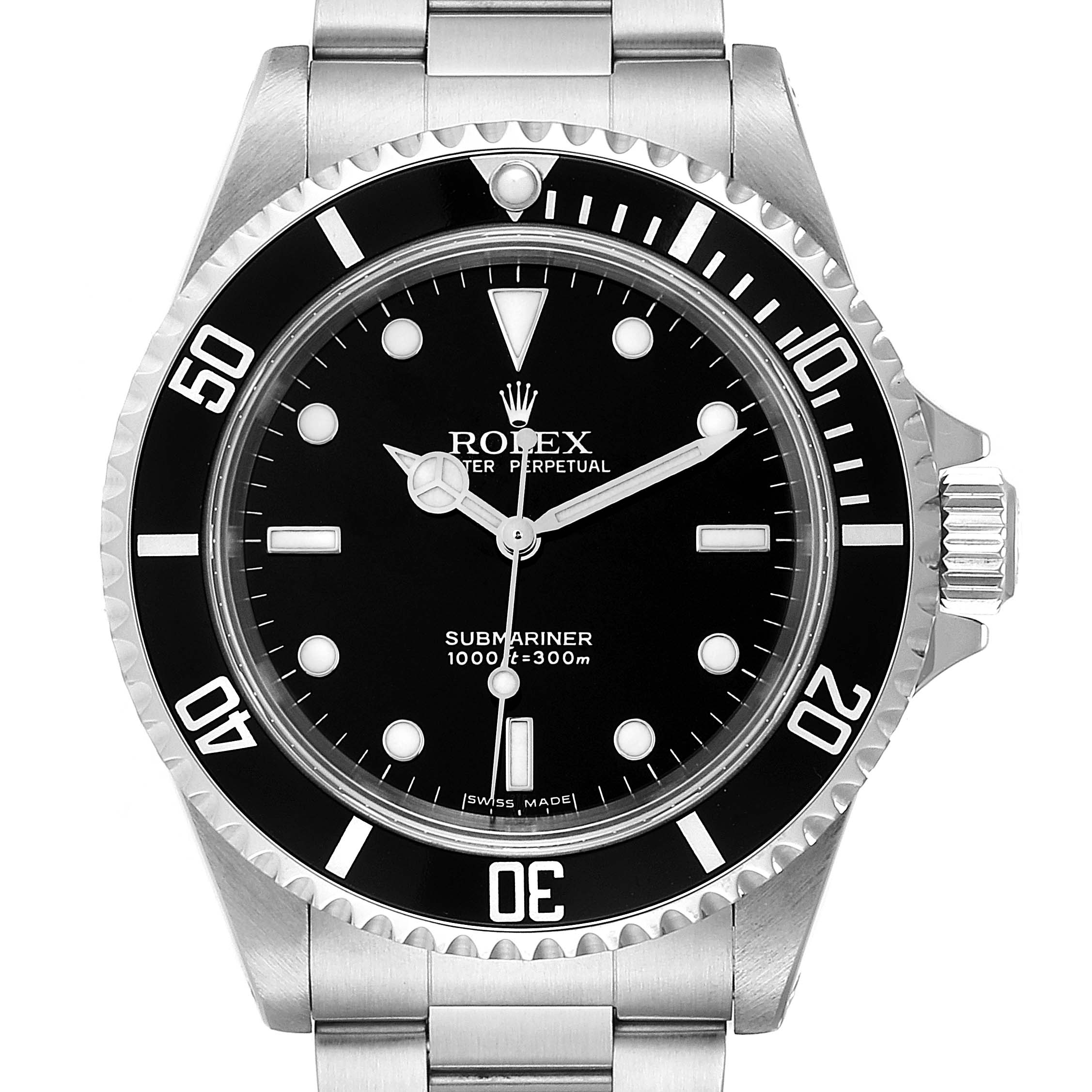 Rolex Submariner Non-Date 2 Liner Steel Mens Watch 14060M Box Papers