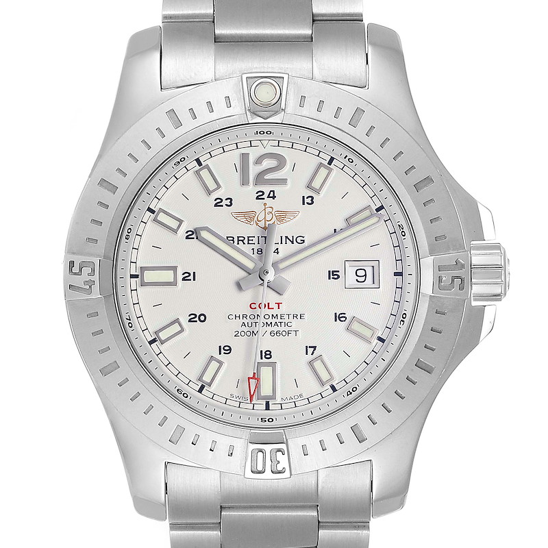 Breitling Colt White Dial Automatic Steel Mens Watch A17388 Box Card SwissWatchExpo
