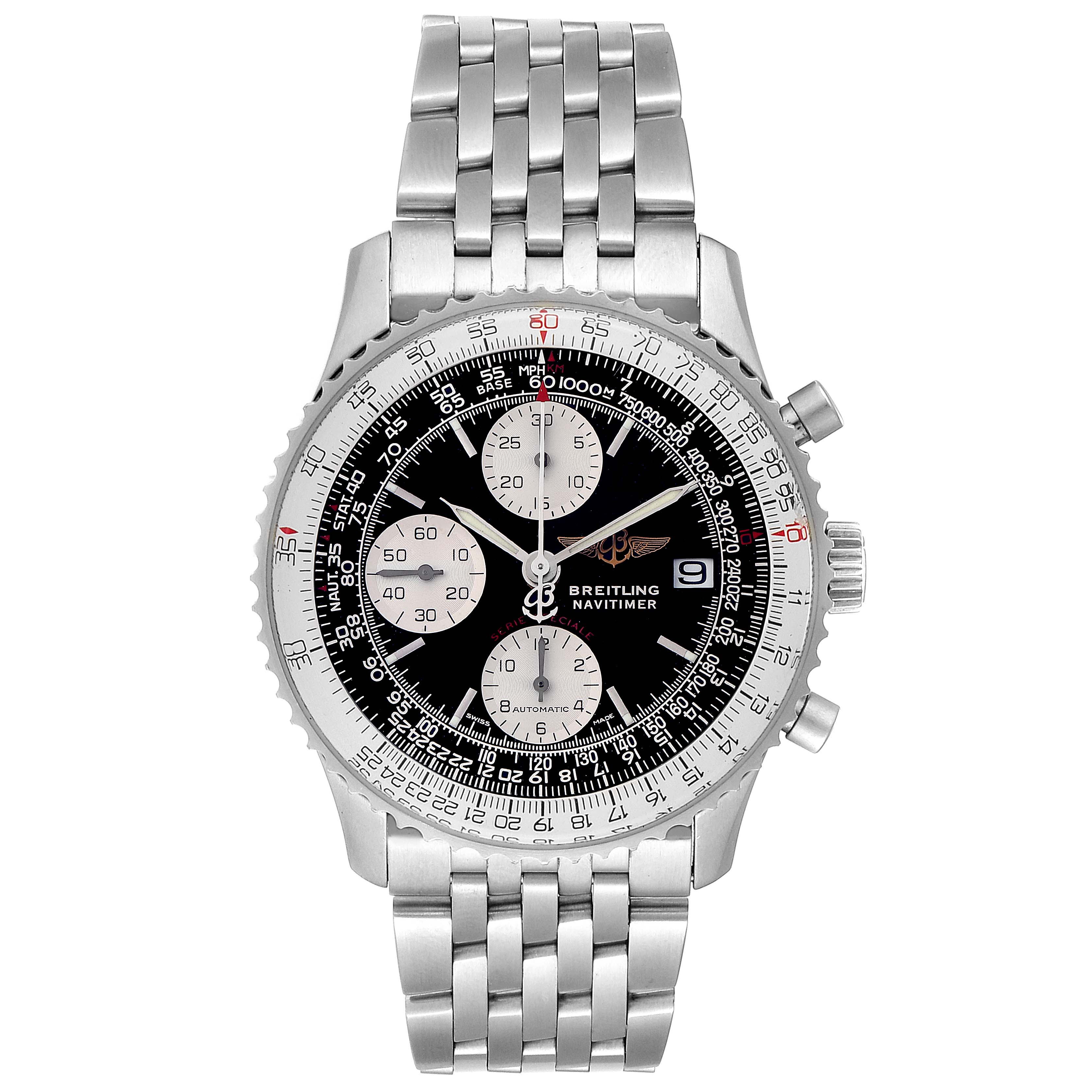 Breitling Navitimer Fighter Chronograph Steel Mens Watch A13330 Box SwissWatchExpo