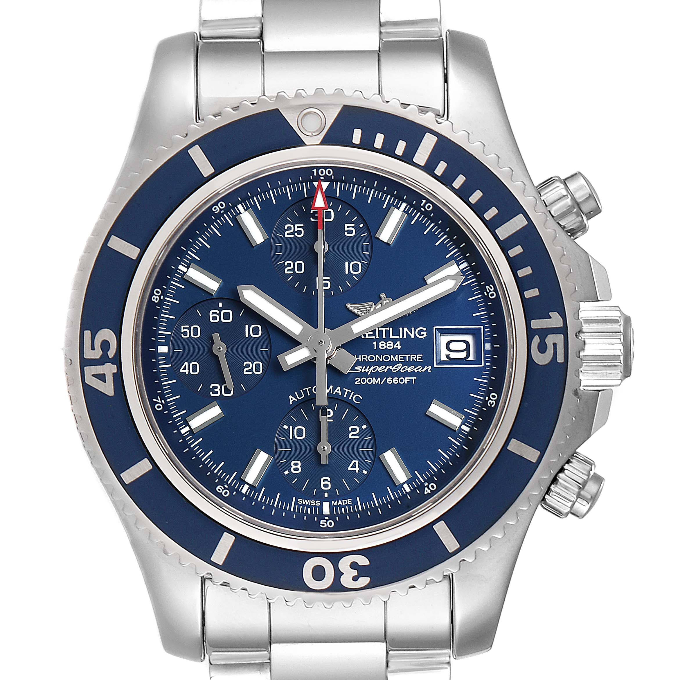 Breitling Superocean Chronograph Blue Dial Mens Watch A13311 Box Papers