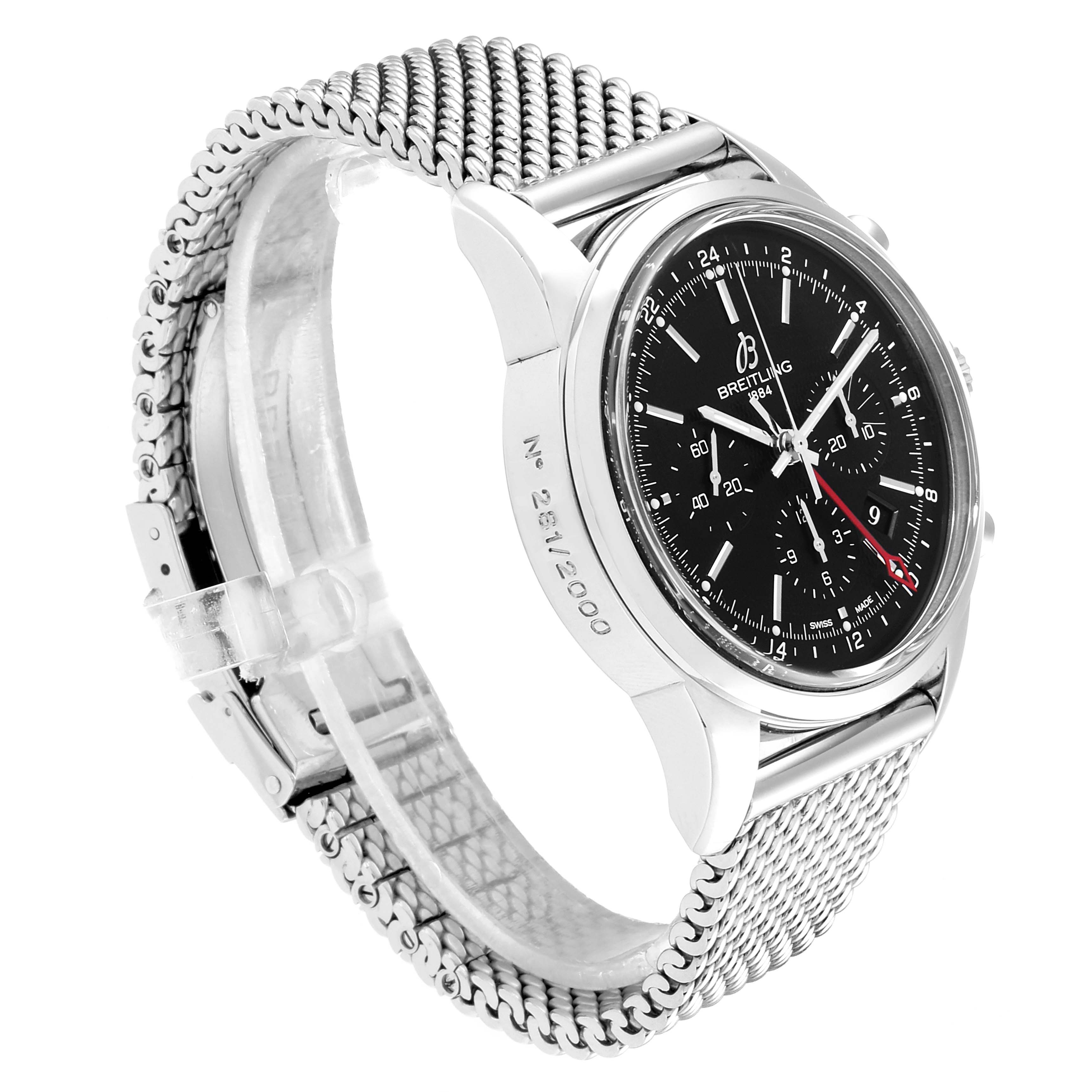 Breitling Transocean 43mm Silver Dial Steel Mens Watch AB0451 Box Papers SwissWatchExpo