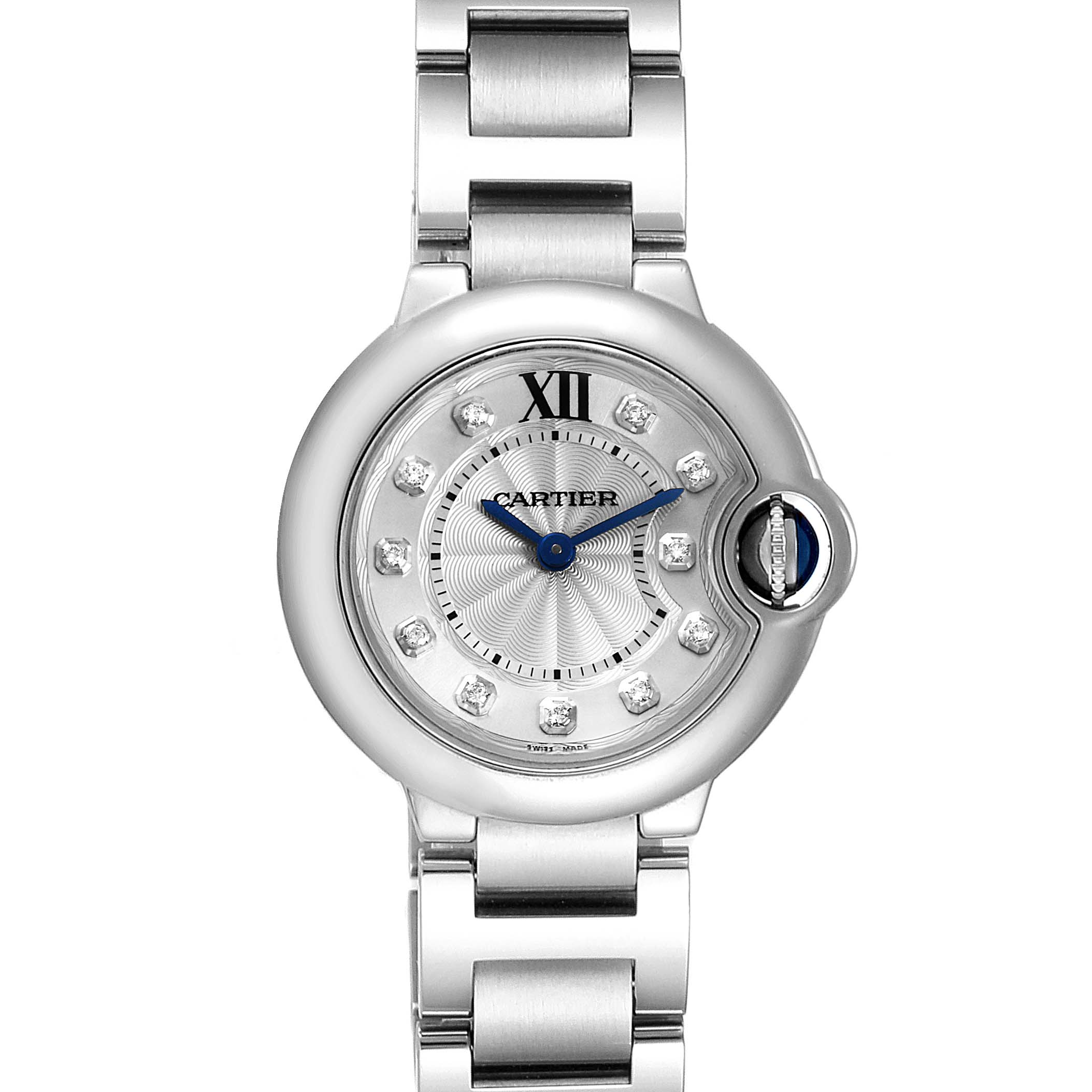Cartier Ballon Bleu Silver Diamond Dial Steel Ladies Watch WE902073