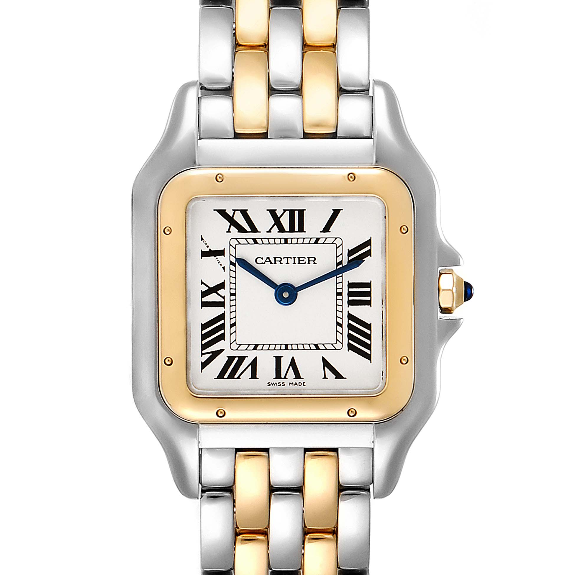 Cartier Panthere Ladies Steel Yellow Gold 2 Row Ladies Watch W2PN0007