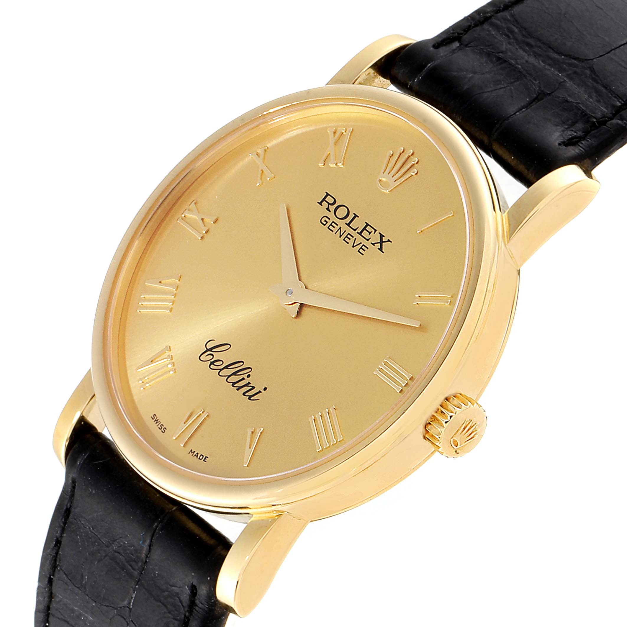 Rolex Cellini Classic Yellow Gold Brown Strap Mens Watch 5115 Box Card SwissWatchExpo