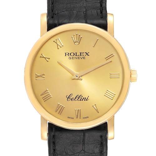 Photo of Rolex Cellini Classic Yellow Gold Brown Strap Mens Watch 5115 Box Card
