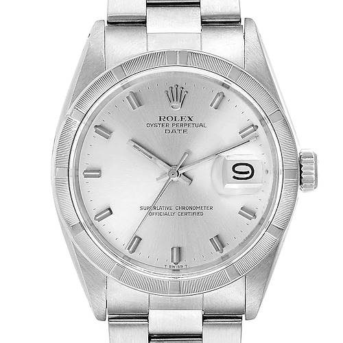 Photo of Rolex Date Vintage Silver Baton Dial Stainless Steel Mens Watch 1501