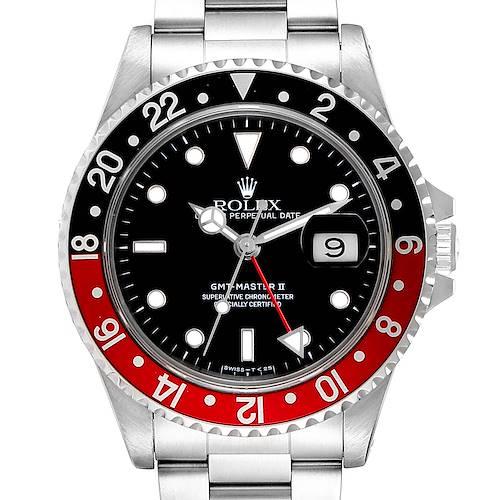 Photo of Rolex GMT Master II Black Red Coke Bezel Steel Mens Watch 16710