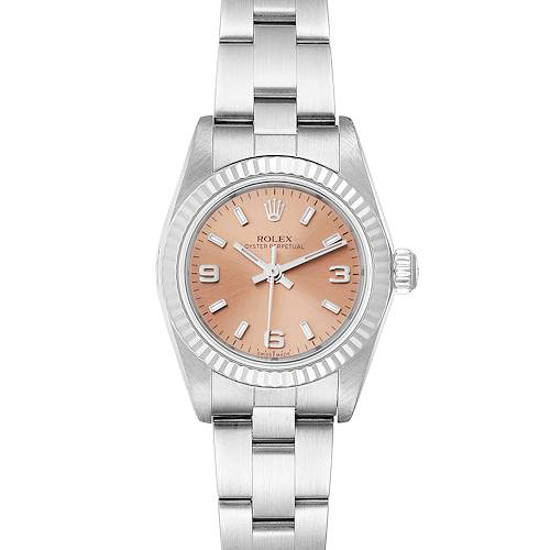 Photo of Rolex Oyster Perpetual Salmon Dial Steel White Gold Ladies Watch 76094