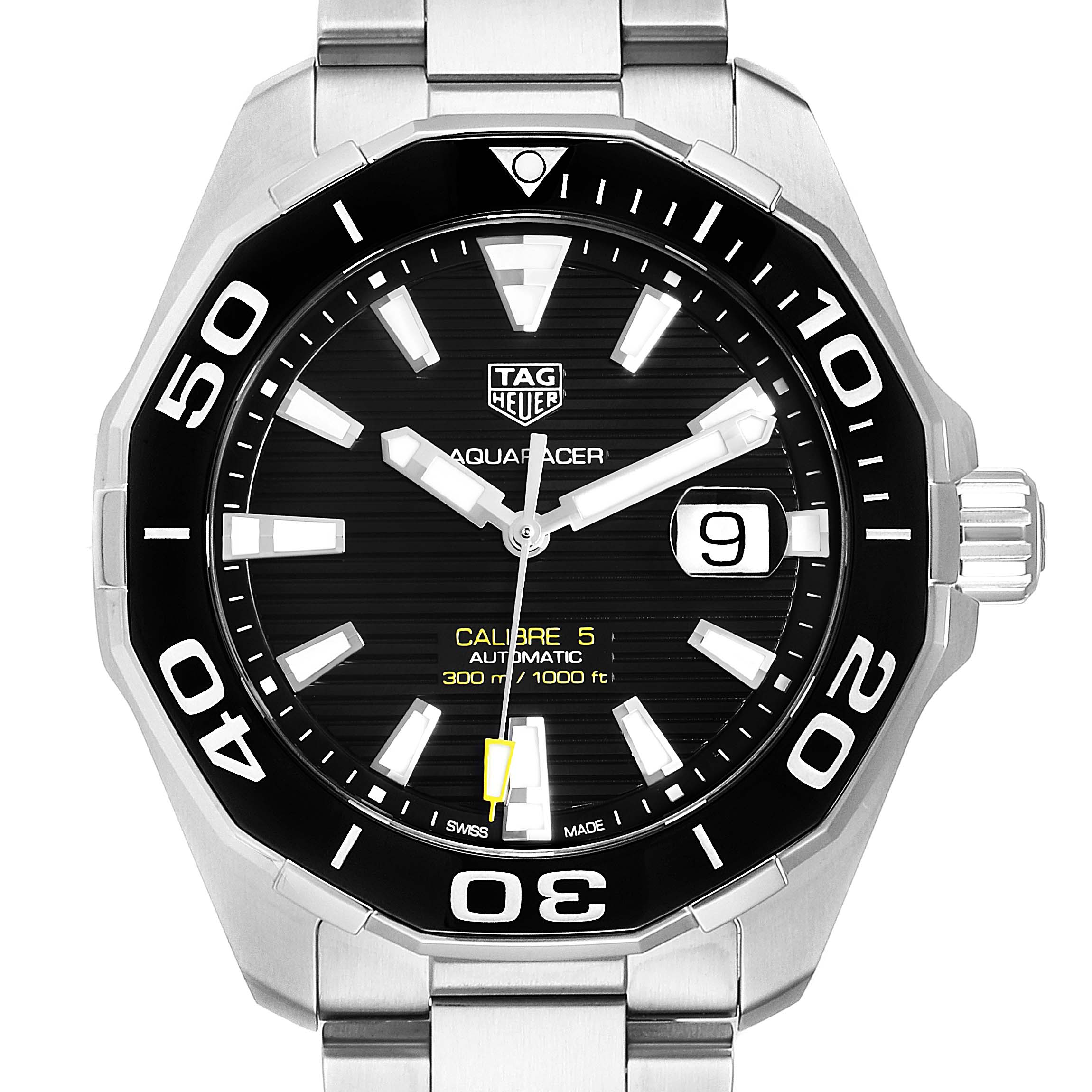 Tag Heuer Aquaracer Calibre 5 Black Dial Mens Watch WAY201A Unworn