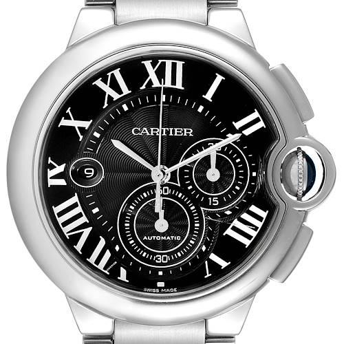 Photo of Cartier Ballon Bleu XL Black Dial Chronograph Steel Mens Watch W6920077