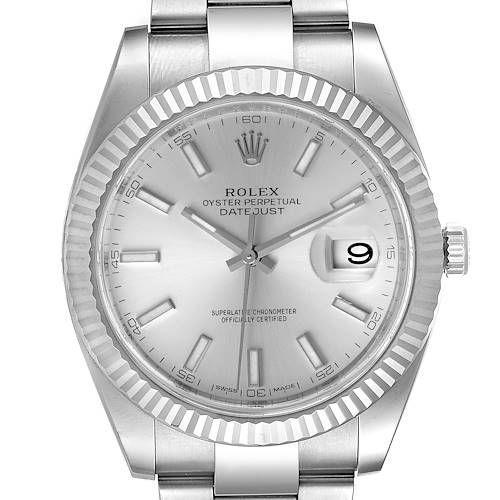 Photo of Rolex Datejust 41 Steel White Gold Silver Dial Mens Watch 126334 Box Card