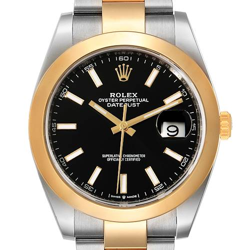 Photo of Rolex Datejust 41 Steel Yellow Gold Black Dial Mens Watch 126303 Box Card