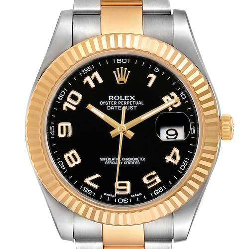 Photo of Rolex Datejust II Steel Yellow Gold Black Dial Mens Watch 116333 Box Card