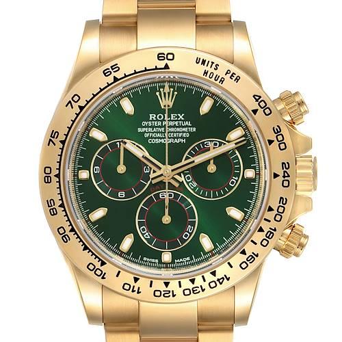 Photo of Rolex Daytona Yellow Gold Green Dial Mens Watch 116508 Box Card