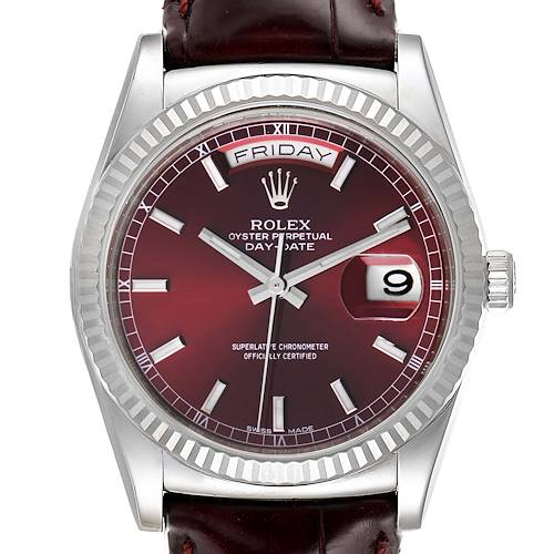 Photo of Rolex President Day-Date White Gold Burgundy Dial Watch 118139 Box Card