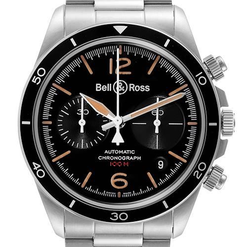 Photo of Bell & Ross Heritage Black Dial Chronograph Steel Mens Watch BRV294 Unworn