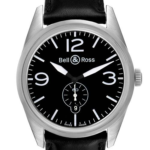 Photo of Bell & Ross Vintage Black Dial Steel Mens Watch BR123 Box Card