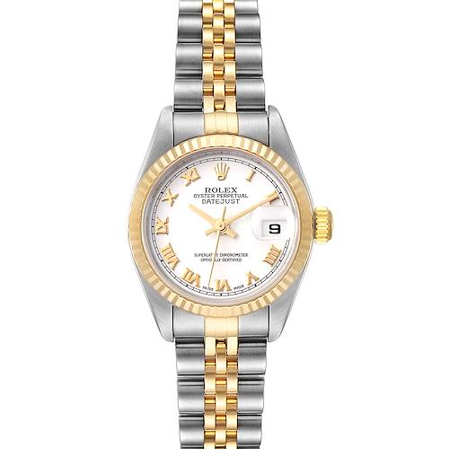 Photo of Rolex Datejust 26 Steel Yellow Gold White Dial Watch 79173 Box Papers
