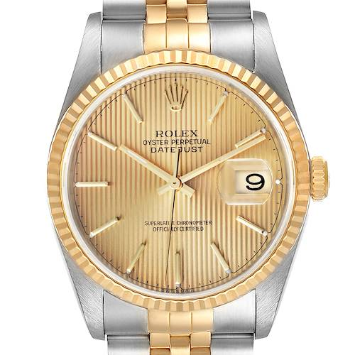 Photo of Rolex Datejust Steel Yellow Gold Tapestry Dial Mens Watch 16233 Box Papers