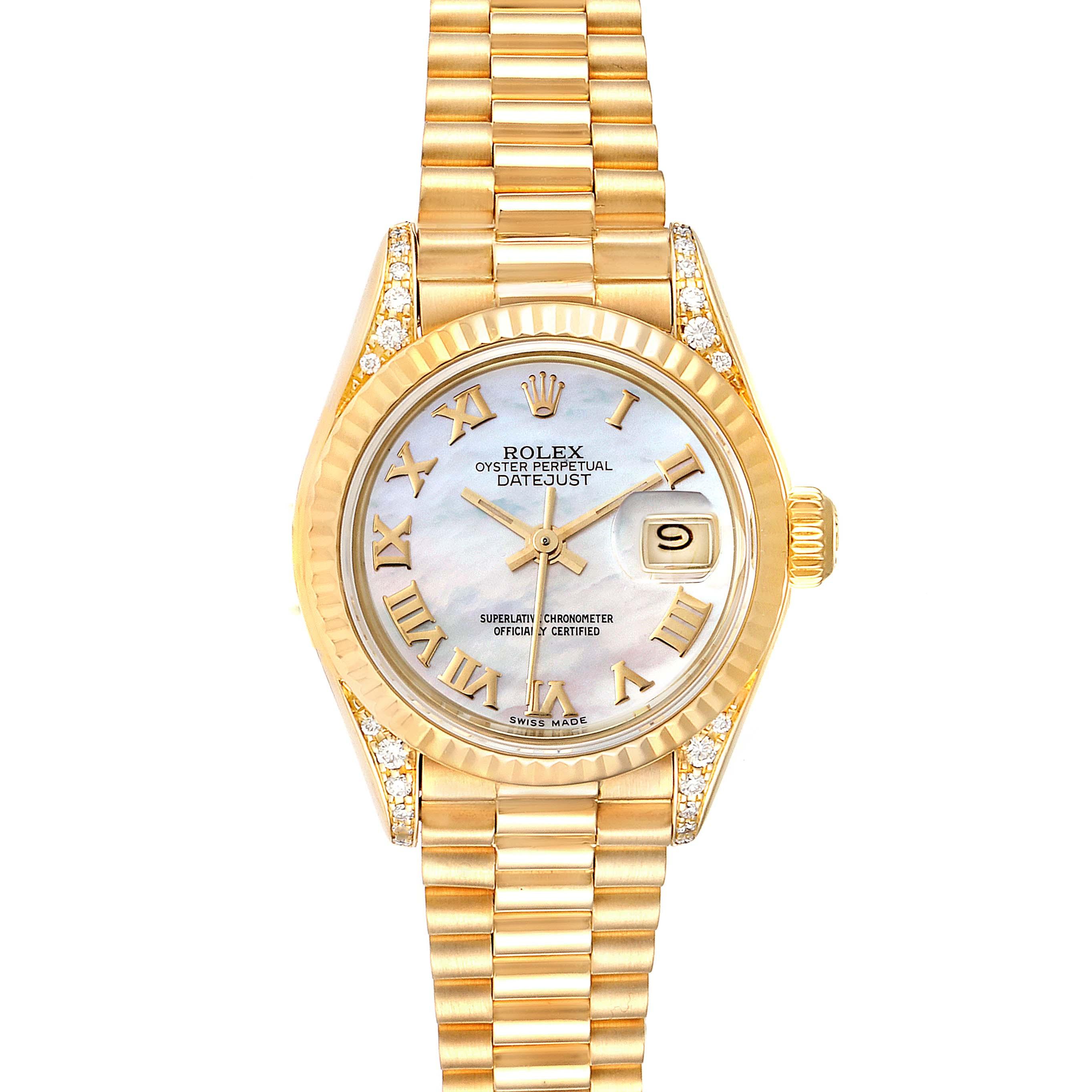 Rolex President Datejust 18K Yellow Gold Diamond Watch 69188