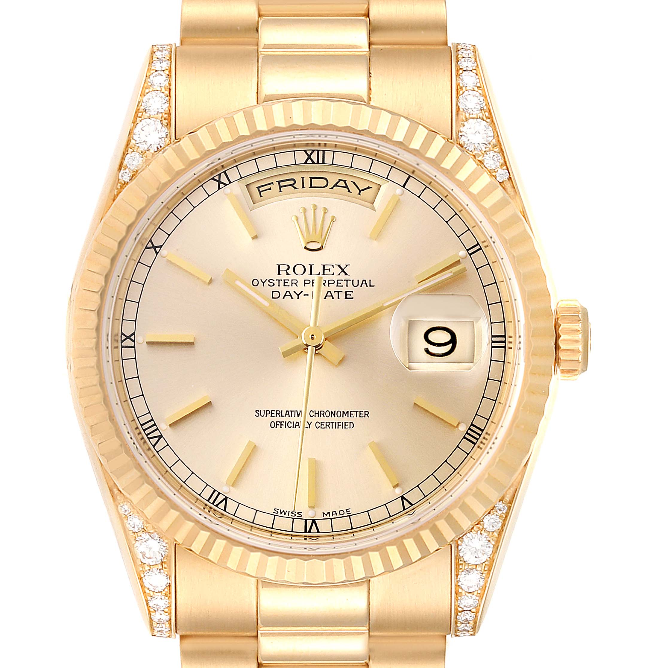Rolex President Day Date Yellow Gold Diamond Lugs Watch 118338 Box Papers