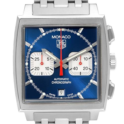 Photo of Tag Heuer Monaco Blue Dial Automatic Chronograph Mens Watch CW2113 Box Card