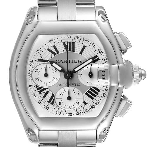 Photo of Cartier Roadster Silver Dial Chronograph Steel Watch W62006X6 Box Papers