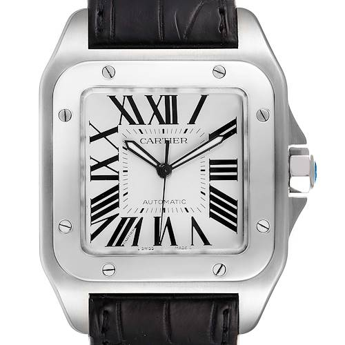 Photo of Cartier Santos 100 Silver Dial Black Strap Steel Watch W20073X8 Box Card