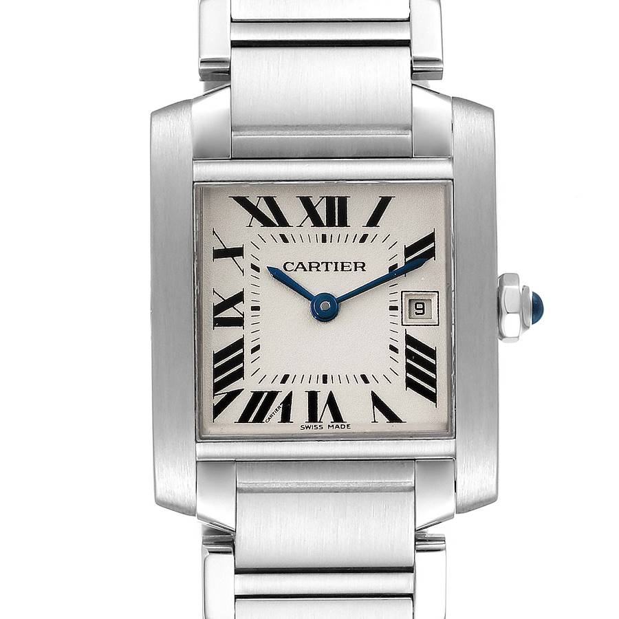 Cartier Tank Francaise Midsize 25mm Silver Dial Ladies Watch W51011Q3 SwissWatchExpo