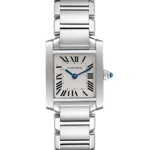 Photo of Cartier Tank Francaise Silver Dial Blue Hands Ladies Watch W51008Q3 Box Card