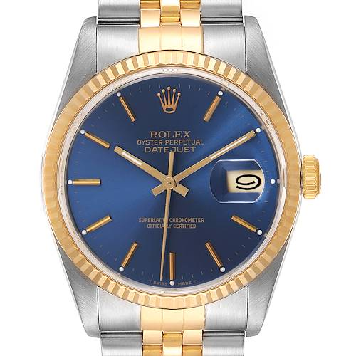 Photo of Rolex Datejust Steel Yellow Gold Blue Dial Mens Watch 16233