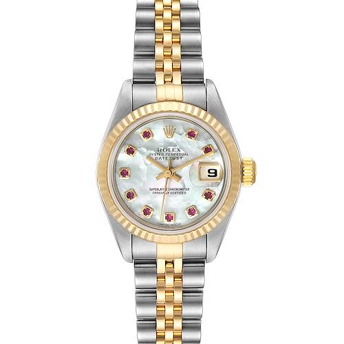 Photo of Rolex Datejust Steel Yellow Gold MOP Ruby Dial Ladies Watch 79173