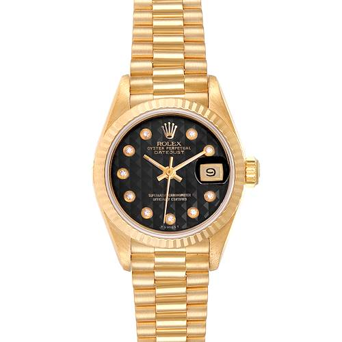 Photo of Rolex President Datejust Yellow Gold Onyx Diamond Dial Ladies Watch 69178