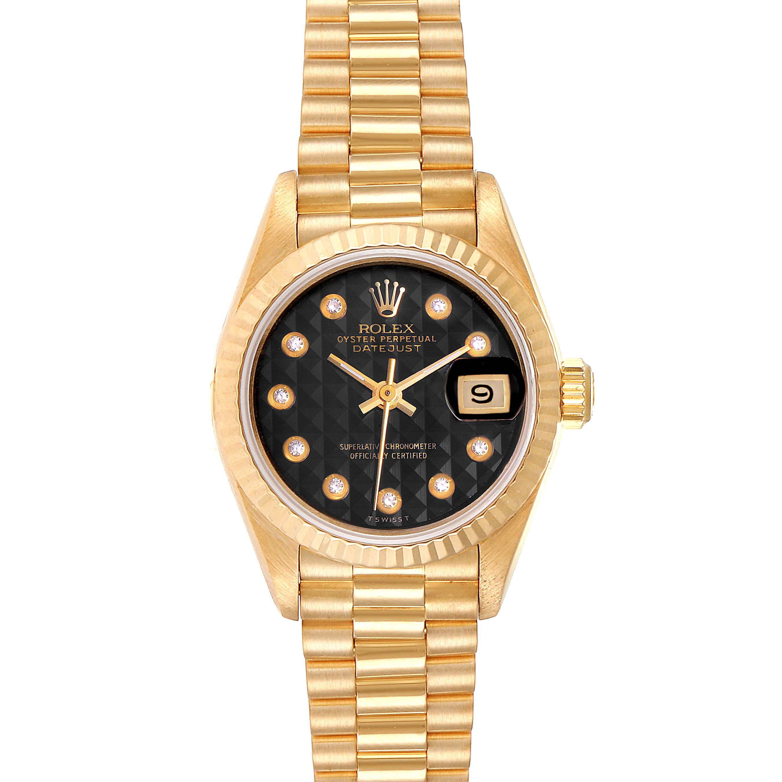 Rolex President Datejust Yellow Gold Onyx Diamond Dial Ladies Watch 69178 SwissWatchExpo