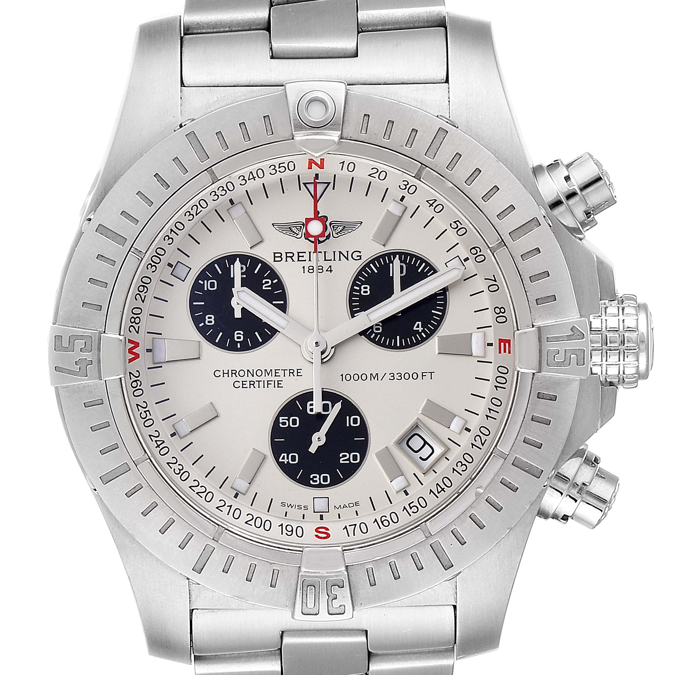 Breitling Avenger Seawolf Silver Dial Mens Watch A73390 Box Papers