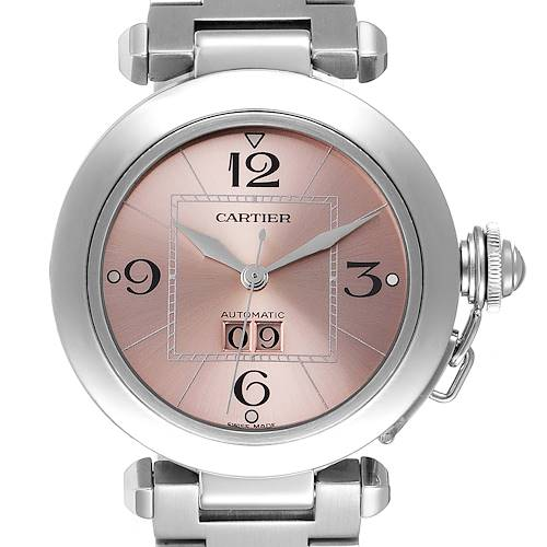 Photo of Cartier Pasha Big Date 35mm Pink Dial Steel Ladies Watch W31058M7 Box Papers
