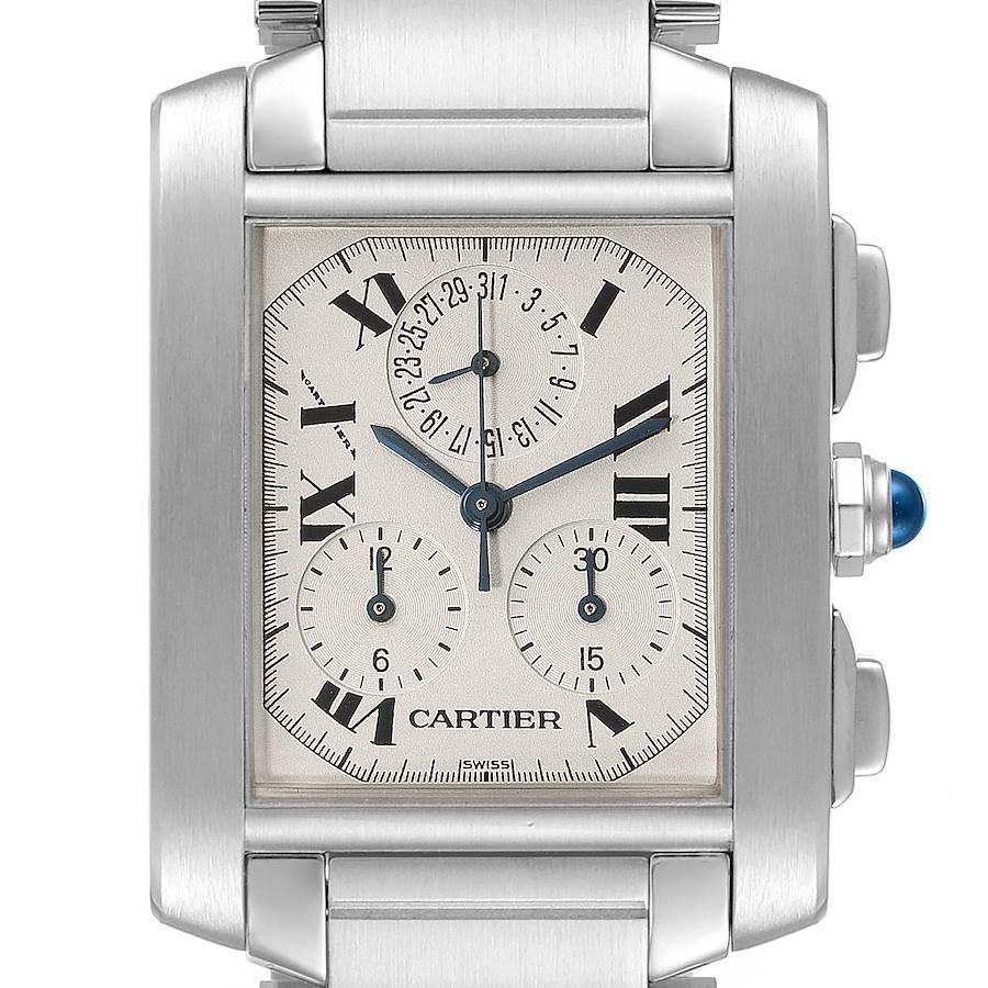 Cartier Tank Francaise Chronoflex Chronograph Steel Mens Watch W51001Q3 SwissWatchExpo