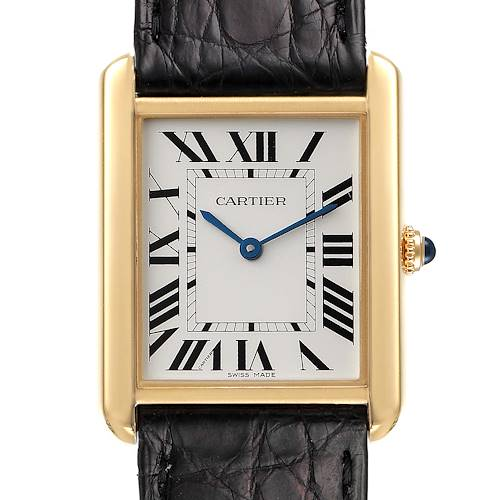 Photo of Cartier Tank Solo Yellow Gold Steel Black Strap Large Mens Watch W5200004