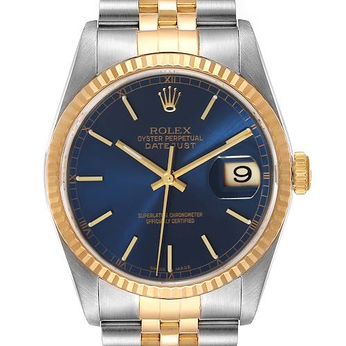 Photo of Rolex Datejust 36 Steel 18k Yellow Gold Blue Dial Mens Watch 16233