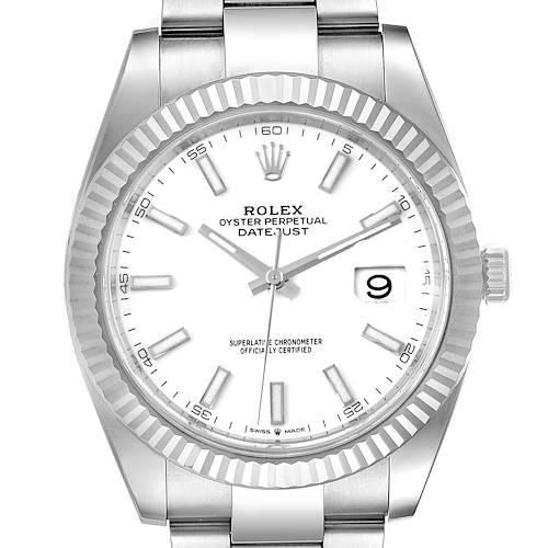 Photo of Rolex Datejust 41 Steel White Gold Fluted Bezel Mens Watch 126334 Unworn