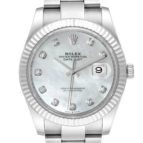 Photo of Rolex Datejust 41 Steel White Gold MOP Diamond Mens Watch 126334 Unworn