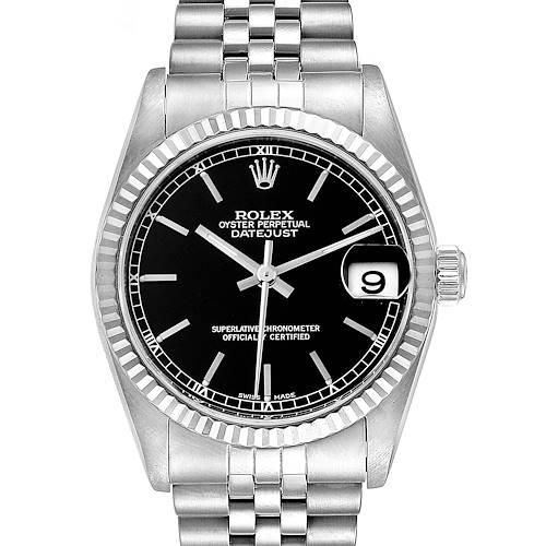 Photo of Rolex Datejust Midsize Steel White Gold Black Dial Ladies Watch 78274