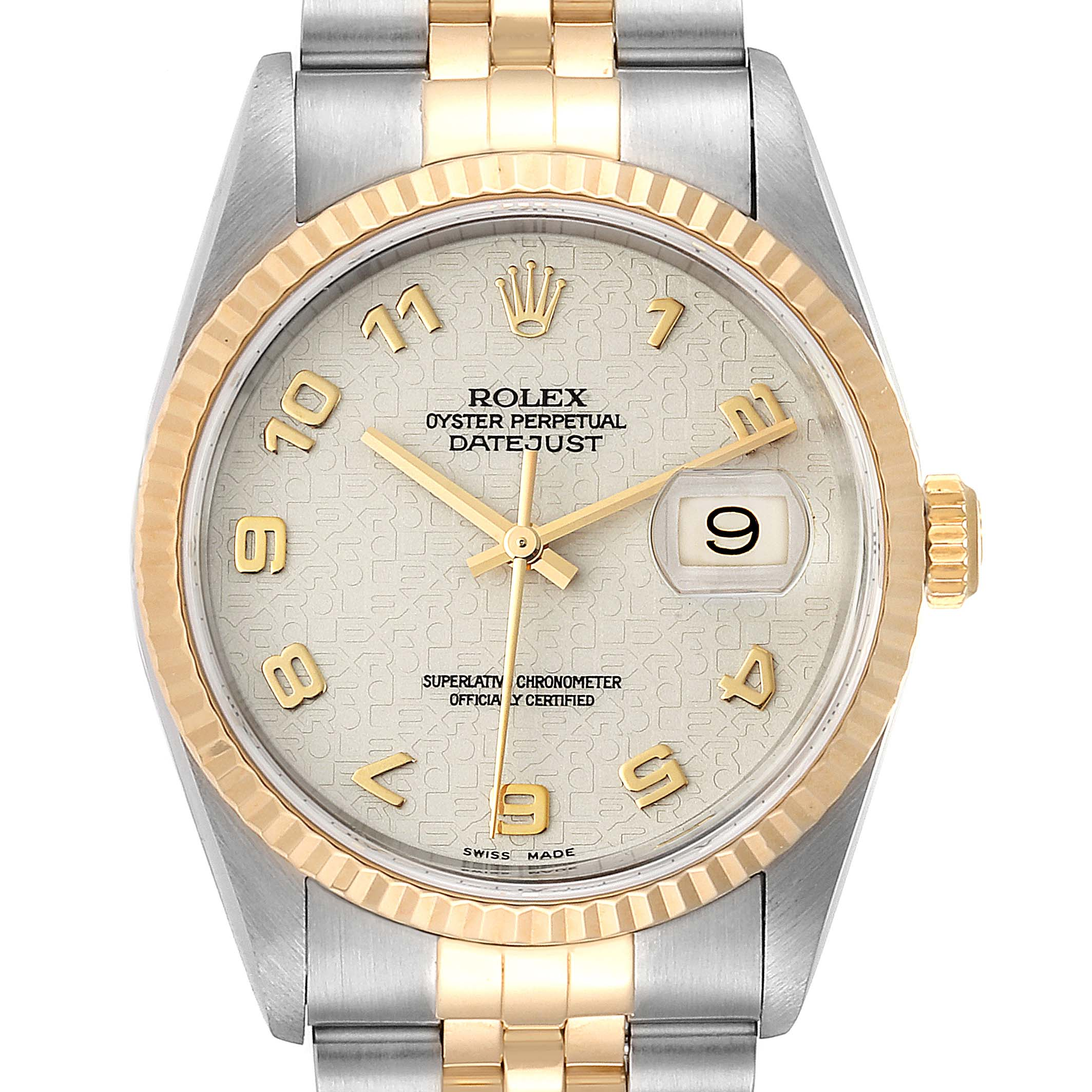 Rolex Datejust Steel 18K Yellow Gold Mens Watch 16233 Box Papers