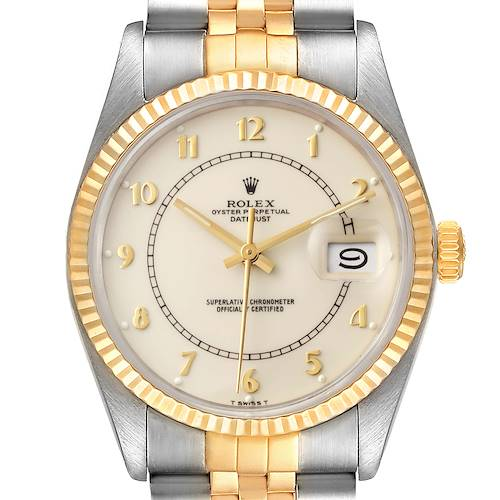 Photo of Rolex Datejust Steel Yellow Gold Bullseye Dial Vintage Watch 16013 Box Papers