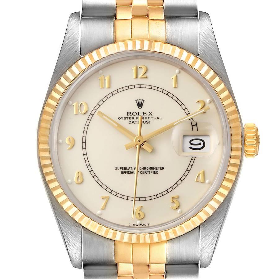 Rolex Datejust Steel Yellow Gold Bullseye Dial Vintage Watch 16013 Box Papers SwissWatchExpo