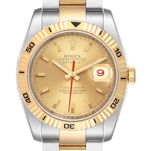 Photo of Rolex Datejust Turnograph Steel Yellow Gold Mens Watch 116263 Box Card