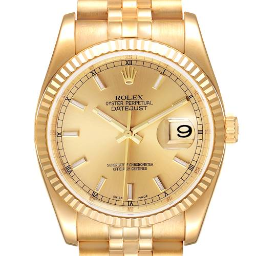 Photo of Rolex Datejust Yellow Gold Champagne Dial Mens Watch 116238 Box Papers